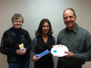 Nancy Cunningham, Jennifer MCKay and Adam Kennedy with microbead products.